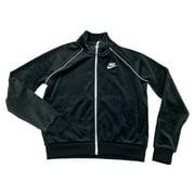 Nike Sportswear Womens Velour Standard Fit Jacket Black/Blue CJ4912-492 New (Black,M)