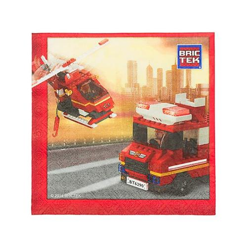 Lego Compatible Bric Tek Firefighter Luncheon Napkins (16 Pack) - Party Supplies