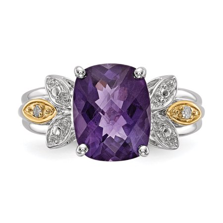 925 Sterling Silver 14k Purple Amethyst Diamond Band Ring Size 6.00 Stone Gemstone Fine Jewelry Gifts For Women For Her - image 7 of 9