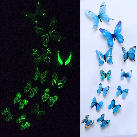 Tuscom 12pcs Luminous Butterfly Design Decal Art Wall Stickers Room Magnetic Home Decor
