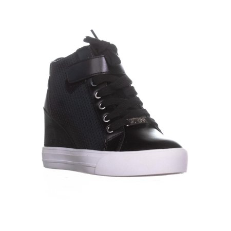 Womens Guess Decia2 Lace Up Wedge Sneakers, Black