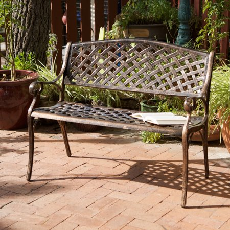 - Raven Antique Copper Cast Aluminum Bench