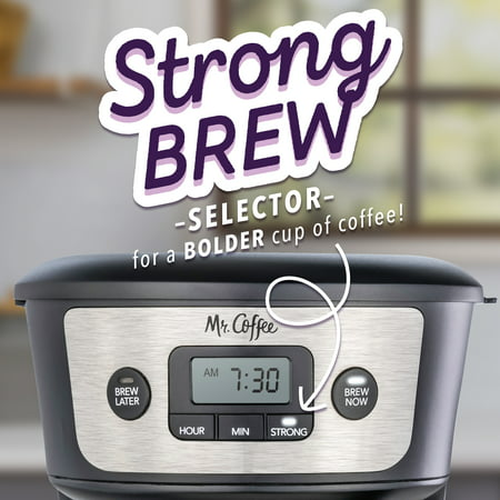 Mr. Coffee 12-Cup Programmable Coffeemaker, Strong Brew Selector, Stainless Steel