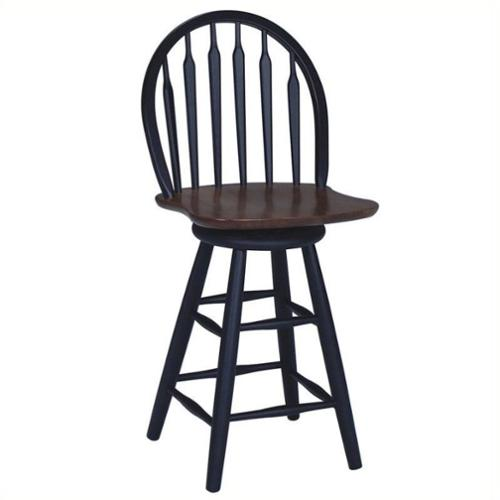 "International Concepts Windsor 24.75"" Arrowback Swivel Counter Stool in Black"