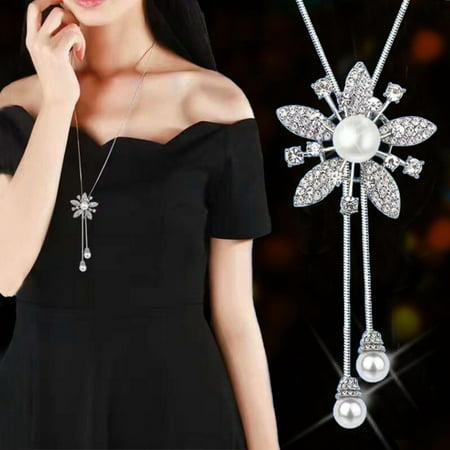 - Heepo Fashion Rhinestone Faux Pearl Snowflake Necklace Pendant Women Wedding Jewelry