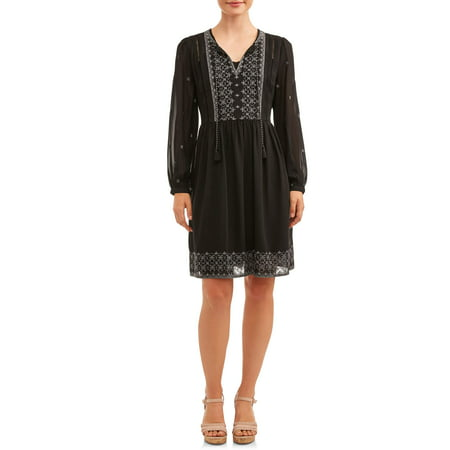 Women's Embroidered Peasant Dress