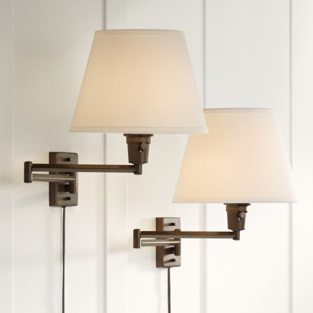 360 Lighting Clement Bronze Plug In Swing Arm Wall Lamp Set Of 2