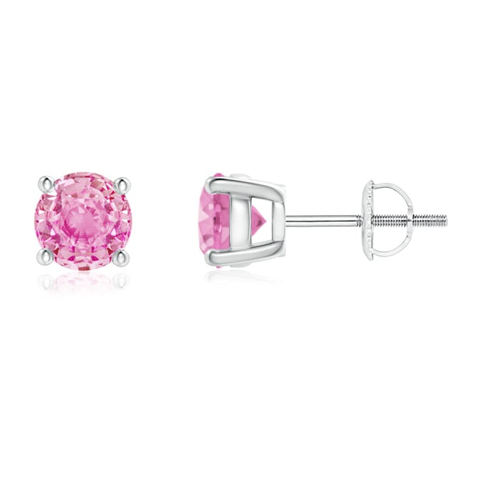 Angara Basket-Set Round Pink Tourmaline Stud Earrings in Platinum bcWA3MD