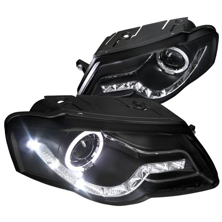 Spec-D Tuning 2006-2010 Volkswagen Passat R8 Sty Led Projector Halo Headlights B6 Head Lamps 2006 2007 2008 2009 2010 (Left + Right)