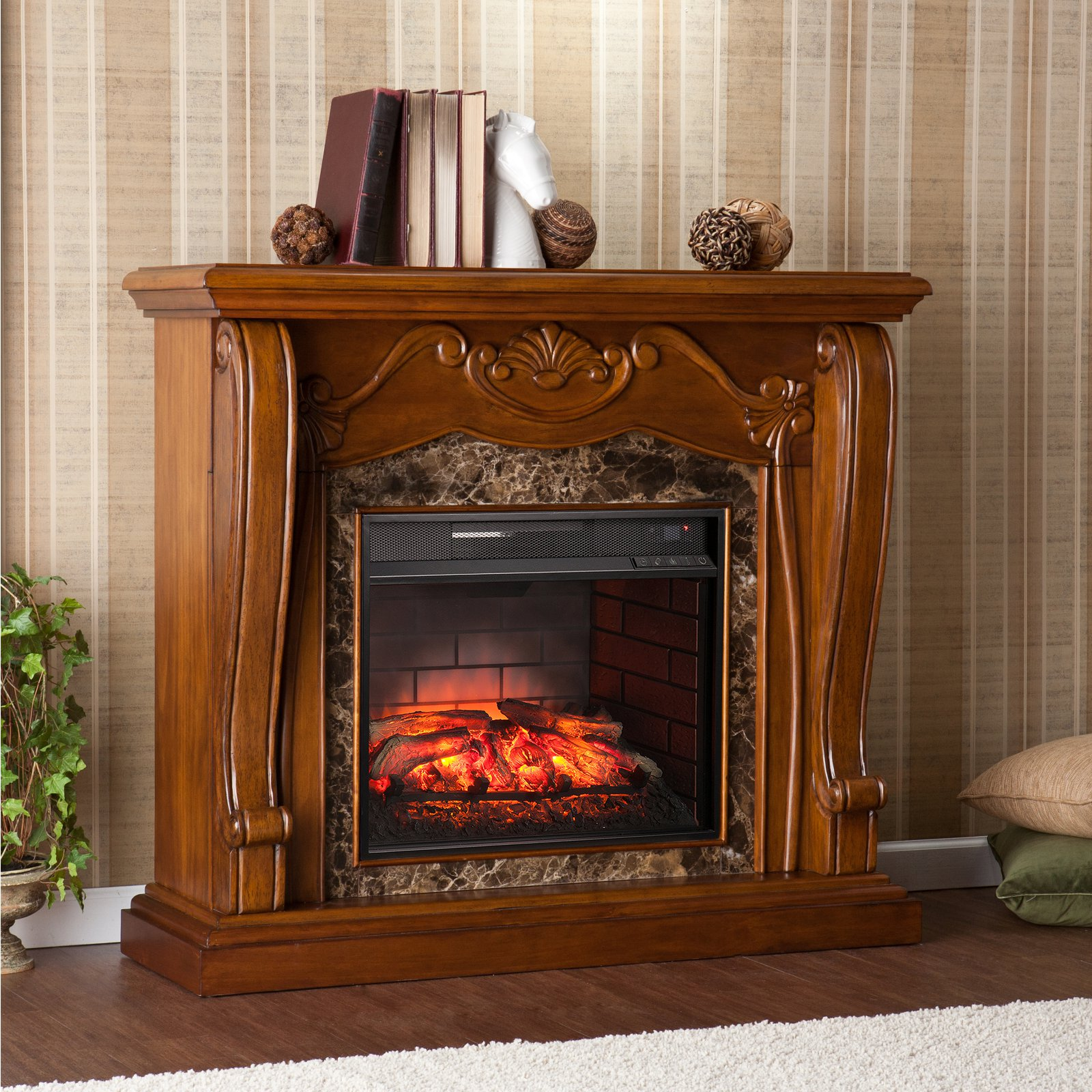 Southern Enterprises Cardona Freestanding Infrared Electric Fireplace