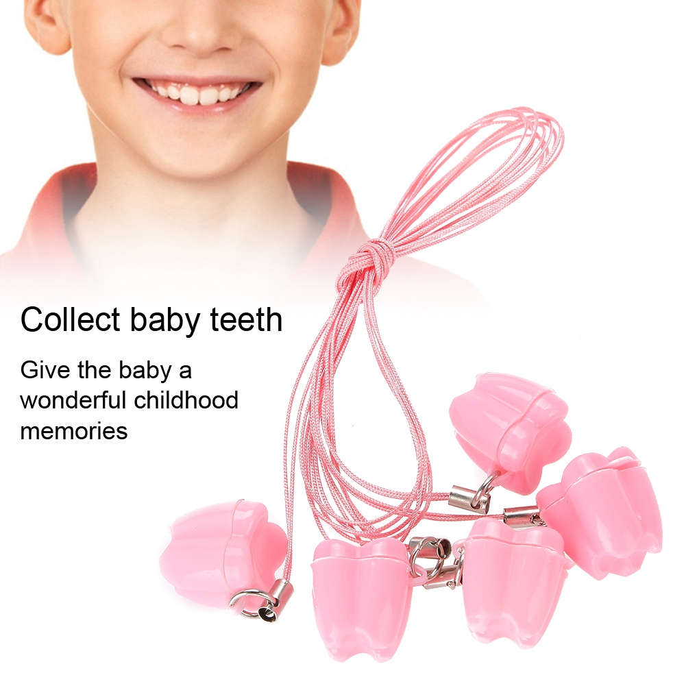 5 x Portable Children Baby Milk Tooth Storage Box with Rope Tooth Saver Necklace
