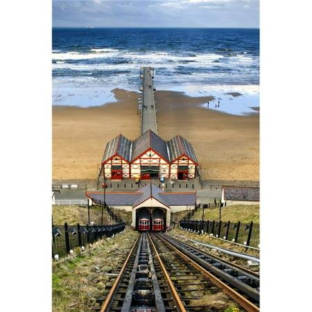 Tram Tracks Leading To Beach Saltburn North Yorkshire England Poster Print by John Short, 22 x 34 - Large - image 1 de 1