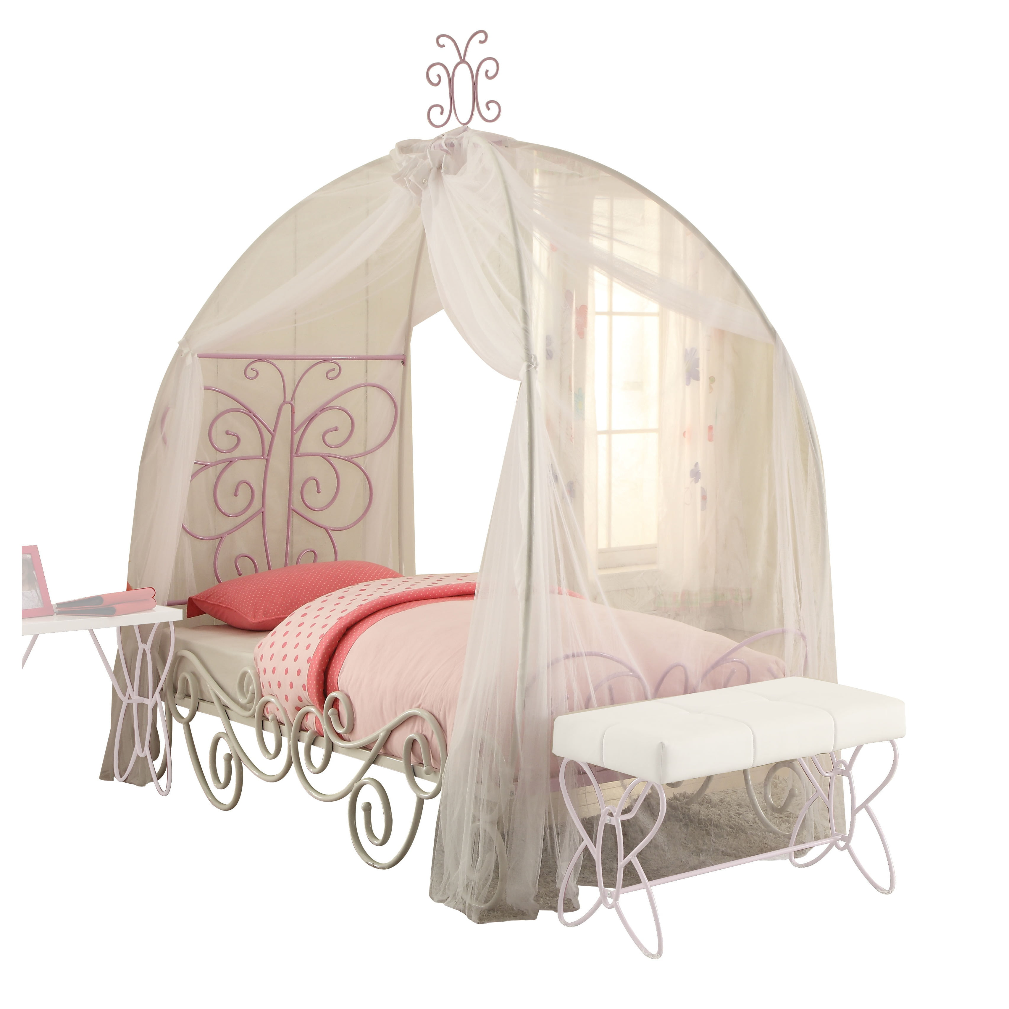 Acme Priya II Full Canopy Bed, White and Light Purple by Acme Furniture