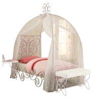 Acme Priya II Full Canopy Bed, White and Light Purple