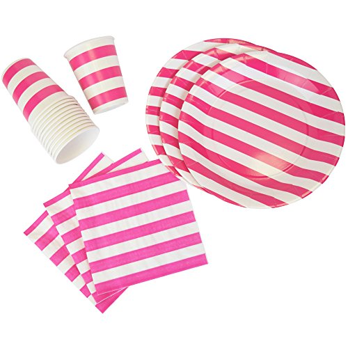 Just Artifacts Disposable Party Tableware 44pcs Striped Pattern Dining Set (Round Plates, Cups, Napkins) - Color: Fuchsia - Decorative Tableware for Parties, Baby Showers, and Life Celebrations!