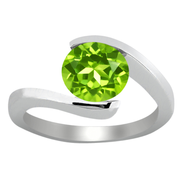 0.90 Ct Round Green VS Peridot 18K White Gold Engagement Ring