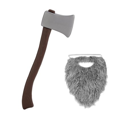 Lumberjack Grey Beard With Plastic Toy Fireman Firefighter Ax Axe Costume Set](Kid With Beard)