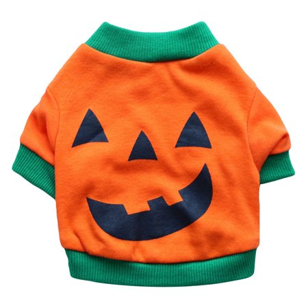 Best Halloween Costumes For Small Dogs (AkoaDa Halloween Pumpkin Costume Small Pet Dog Shirt Clothes Puppy Cat Vest Apparel)