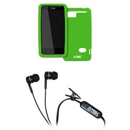 EMPIRE AT&T HTC Holiday Neon Green Silicone Skin Case Cover + Stereo Hands-Free 3.5mm Headset Headphones [EMPIRE (Neon Green Silicone)