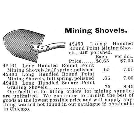Mail Order Catalog (Mining Tools Nadvertisement For Mining Shovels From An American Mail-Order Catalog 19Th Century Rolled Canvas Art -  (24 x 36) )