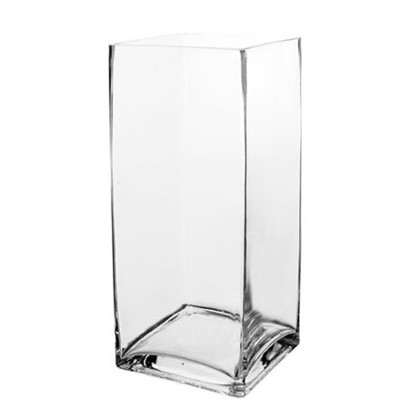 CYS Glass Square Vase Hand Blown. H-12