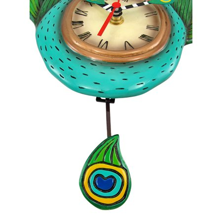 Allen Designs Pretty Peacock Pendulum Wall Clock - image 4 de 5