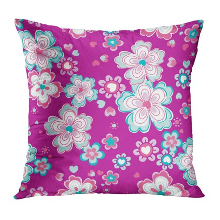 ECCOT 1970S Fun Retro Floral Magenta Pink Mint Abstract Beautiful Beauty Carnation Clip Pillowcase Pillow Cover Cushion Case 18x18 (Retro 1970s)