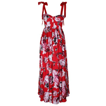 Fame And Partners Red Multi The Khanni Floral-Print Bustier Gown 0