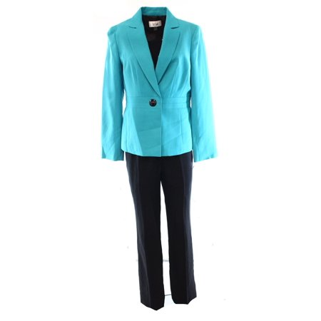 a0c6b47d2910f Le Suit NEW Blue Turquoise Women's Size 8 Notched-Collar Pant Suit Set $200
