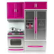 """My Modern Kitchen Oven Refrigerator Battery Operated Toy Doll Kitchen Playset w/ Lights, Sounds, Perfect for Use with 11-12"""" Tall Dolls"""