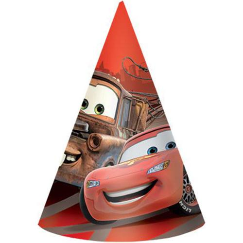 """Disney Cars 6"""" Paper Cone Hats (8 Pack) - Party Supplies"""