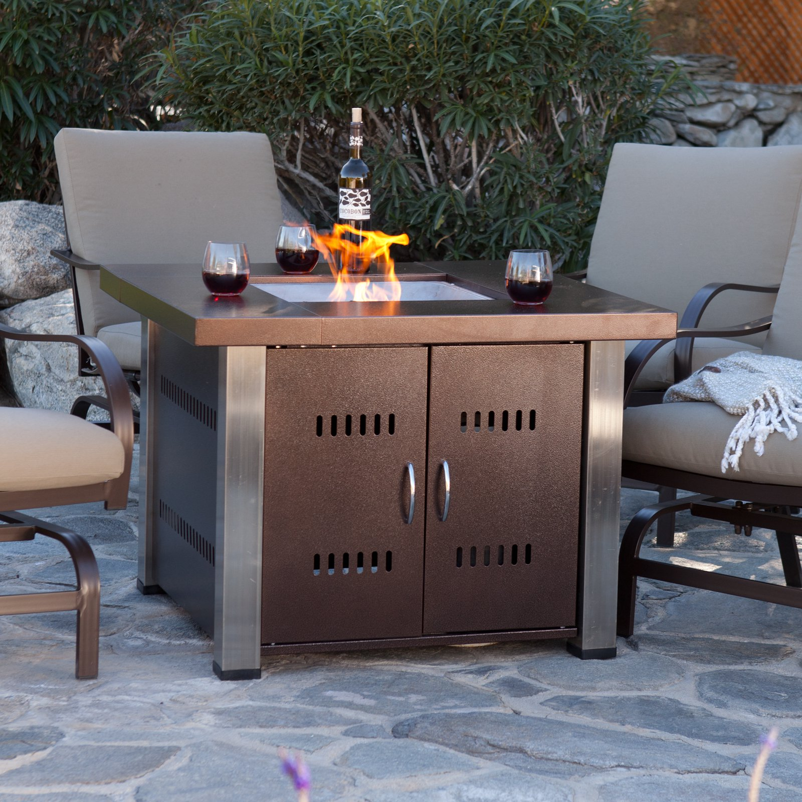 az heater propane antique bronze and stainless steel fire pit walmartcom - Propane Patio Heater