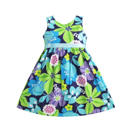 Girls Dress Blue Belt Flower Print Party Kids Sundress 2-3](Blue Kid Dresses)