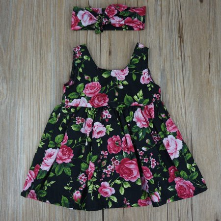 Baby Girl Floral Dress Kid Party Wedding Pageant Formal Dresses Sundress Clothes 0-4Years