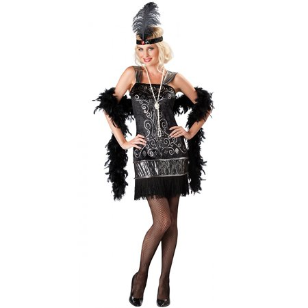 Flirty Flapper Adult Costume - - Black And White Flapper