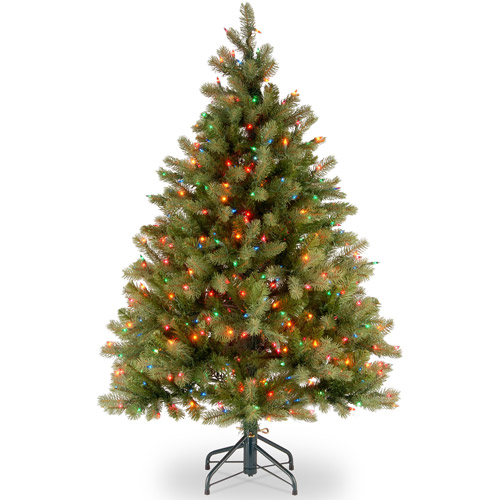 "National Tree Pre-Lit 4-1/2' ""Feel-Real"" Downswept Douglas Fir Hinged Artificial Christmas Tree with 450 Multi Lights"