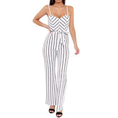 SHOPFIVE Summer Women's Sexy Fashion Slim Belt Knotted Sling Strapless Striped
