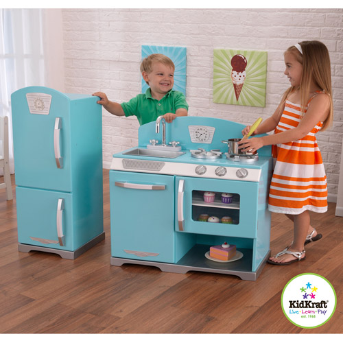 KidKraft Blue Retro Wooden Play Kitchen and Refrigerator