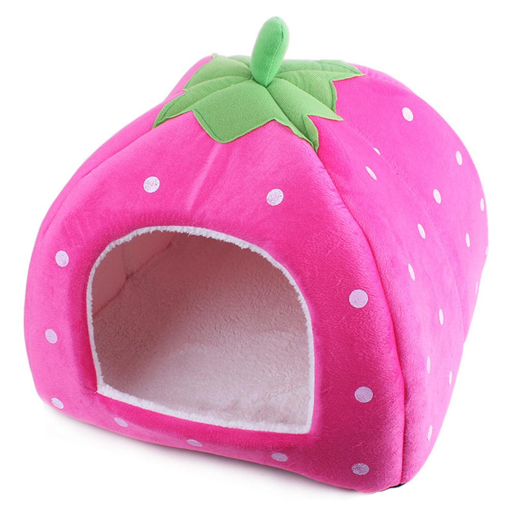 Soft Warm Strawberry Pet Dog Cat House kennel Doggy Warm Bed Cushion Basket Home Size - M (Pink)