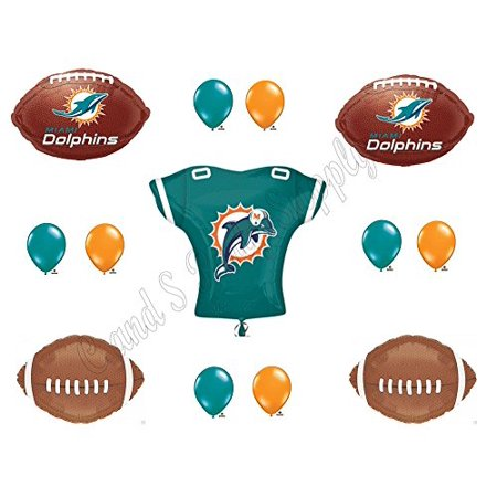 Miami dolphins jersey birthday party balloons decoration for Balloon decoration equipment