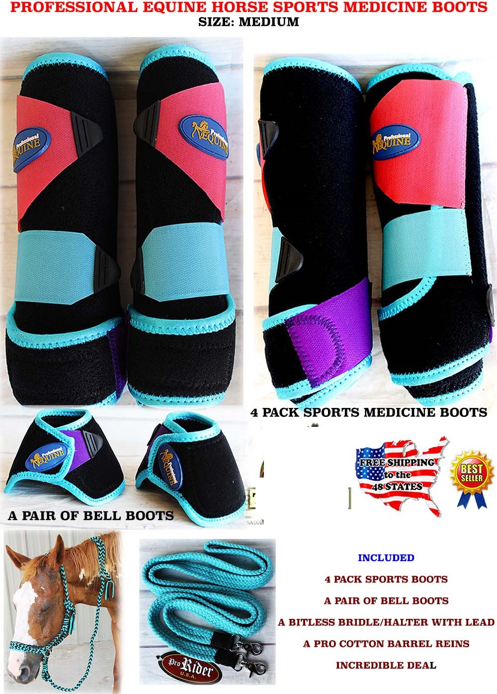 Horse Medium Professional Equine Sports Medicine Splint Boots Halter Rein 4113E by