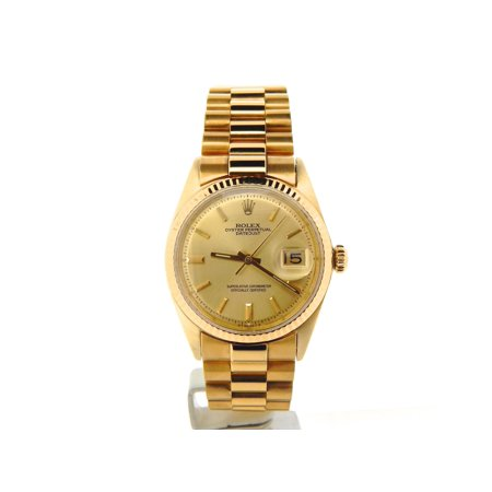 Pre-Owned Mens Rolex 18K Yellow Gold Datejust w/Gold Plated Band 1601 (SKU 670096NMT)