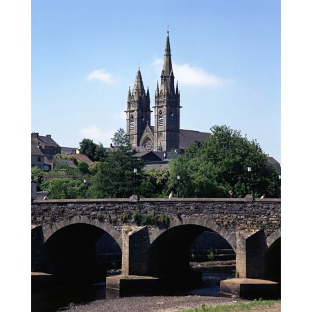 - Arch Bridge Across A River With A Church In The Background Omagh County Tyrone Northern Ireland PosterPrint