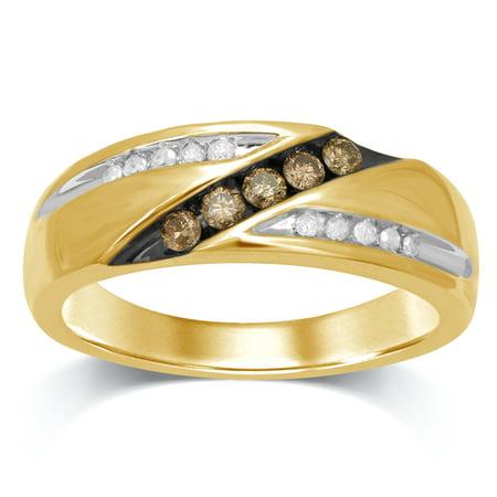 Fancy Champagne Diamond Band (10K Yellow Gold 1/3 Cttw Champagne and White Diamond Men's Wedding Band)