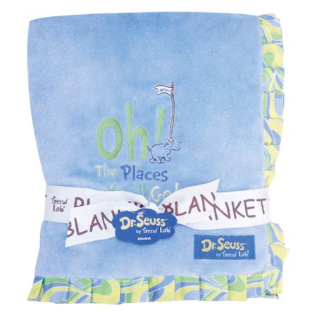 Dr. Seuss Oh, The Places You'll Go! Blue Ruffled Velour Baby Blanket