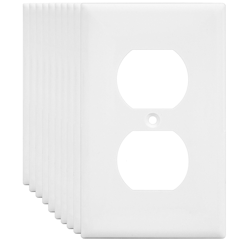 Enerlites 8821 W 1 Gang Duplex Outlet Wall Plate Standard Size Unbreakable Polycarbonate White 10 Pack Walmart Com Walmart Com