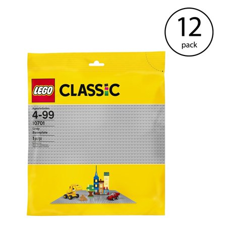 LEGO Classic Base Extra Large Building Plate 15x15 Inch Platform, Gray (12 Pack) ()