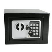 Fire Safe Security Box, Digital Electronic Steel Safe with Keypad, 2 Manual Override Keys, Stalwart Steel Safe Protect Money, Jewelry, Passports, for Home, Business or Travel, 0.24cu ft, Black, S8975