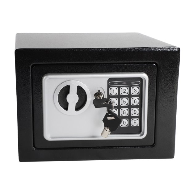 Electronic Safe Security Box For Hotel 0 24 Cu Ft Electronic Deluxe Digital Security Mini Safe Box With Key Electronic Digital Steel Strongbox Safe Box Stalwart Steel Safe For Home Black S8981