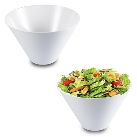 Kaya Collection - White Plastic Round Serving Bowls 96oz - Disposable or Reusable (24 Bowls)